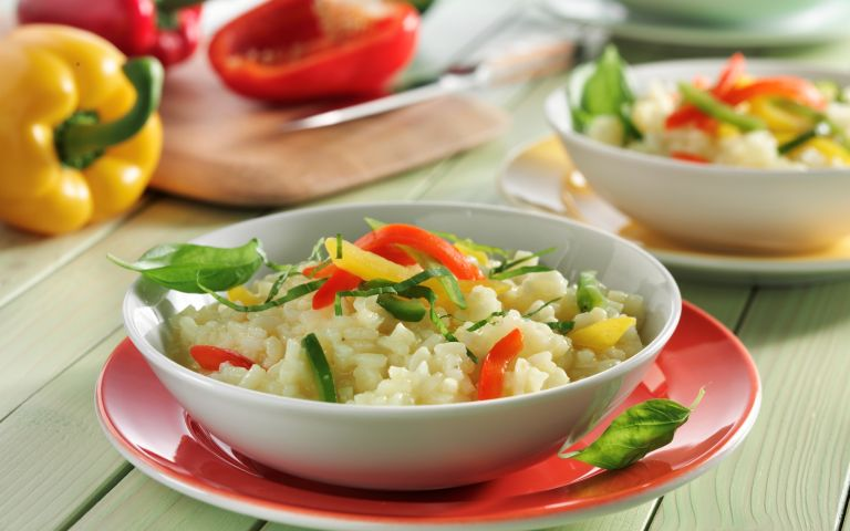 Risotto with sweet pepper and saffron
