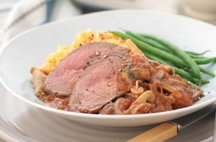 Lamb Rump with Thyme and Mushroom Ragout