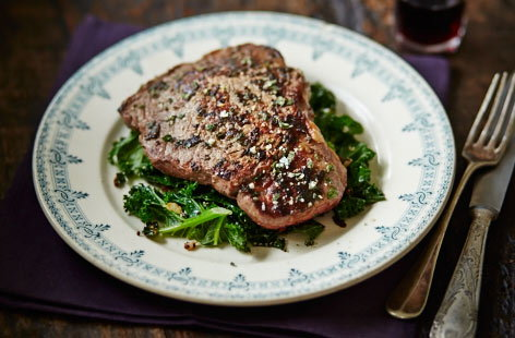 Sage salt steak with buttery greens