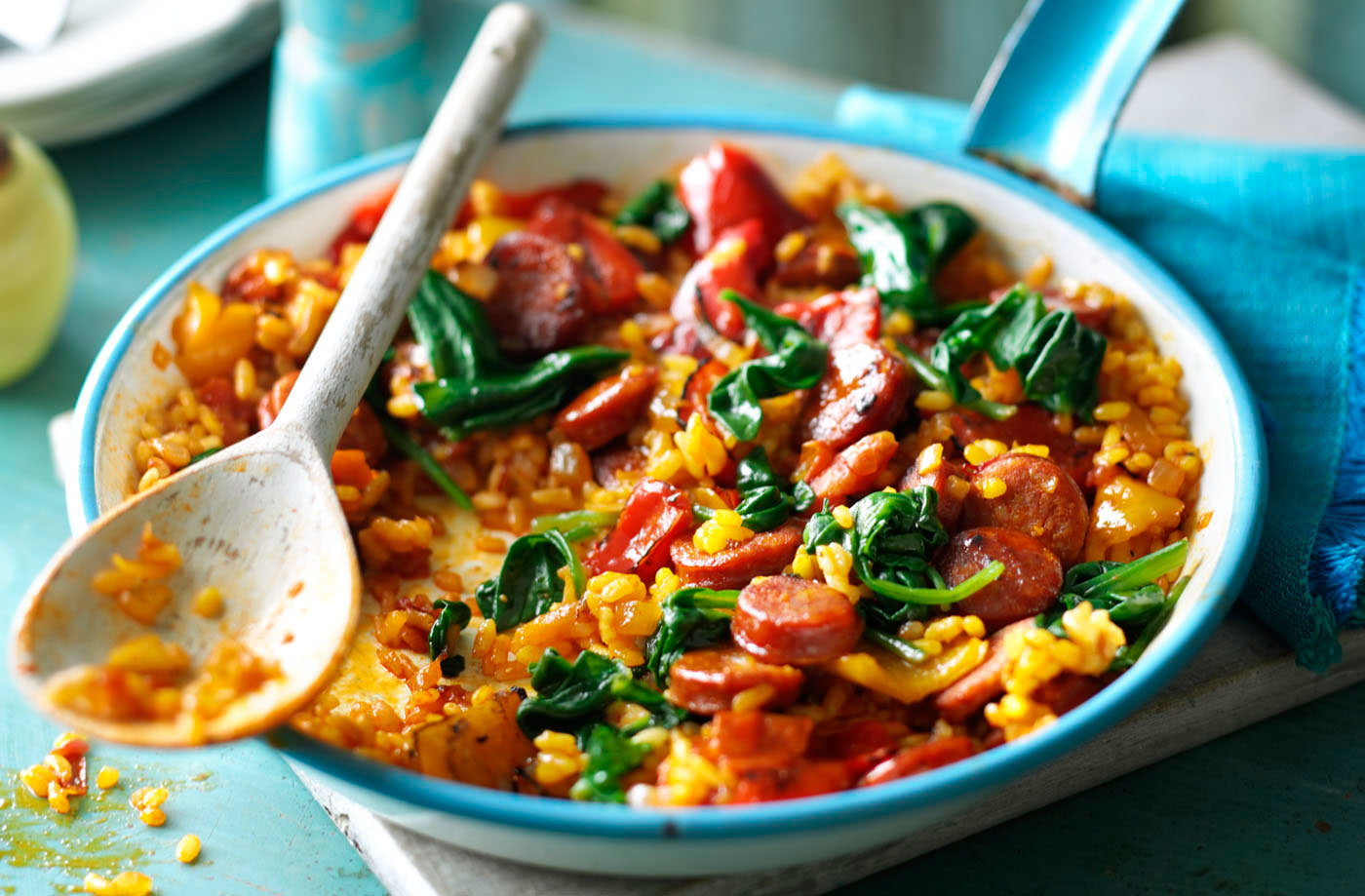 Chorizo and spinach paella