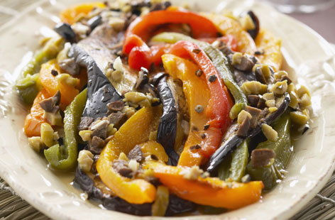 Aubergines with peppers