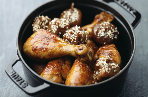 Chicken with roast sesame figs