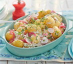 Scandi potato salad with radish and quick-pickled red onion