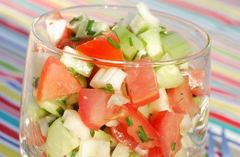 Cucumber, tomato and fennel salad