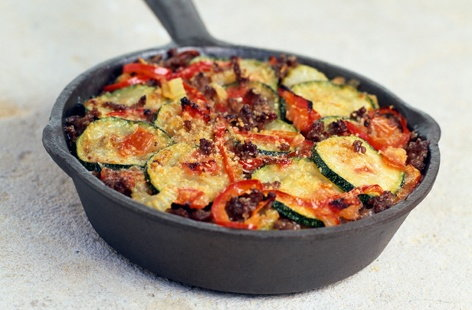 Beef, courgette and tomato gratin