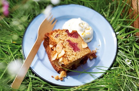 Raspberry and almond brown sugar loaf