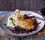 Braised chicken legs with slow-cooked red cabbage