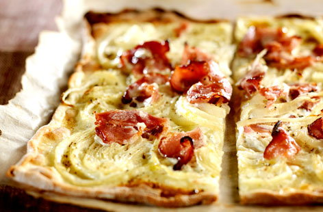 Thin crust pizza with bacon