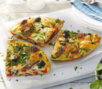 Chorizo, pepper and olive tortilla