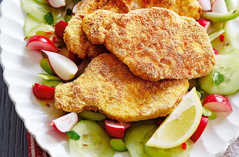 Pork schnitzel with spiced cucumber salad