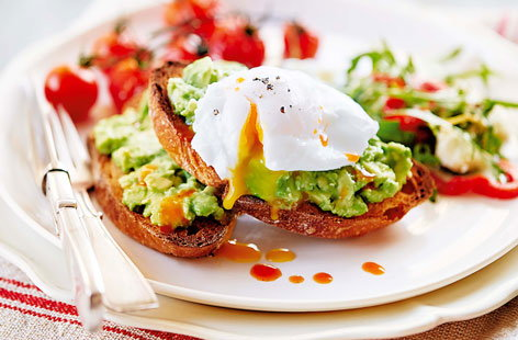Smashed avocado on toast with poached eggs and tomatoes