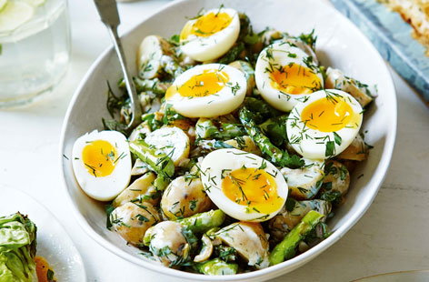 New potato salad with griddled asparagus and soft boiled eggs
