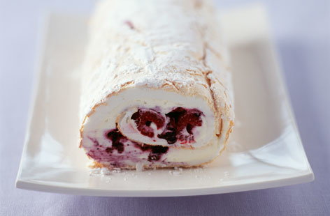 White chocolate meringue roulade
