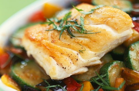 Haddock with summer vegetables