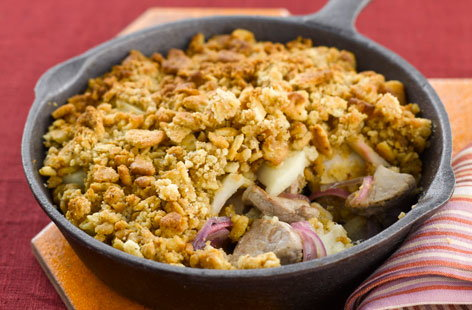 Pork and apple savoury crumble
