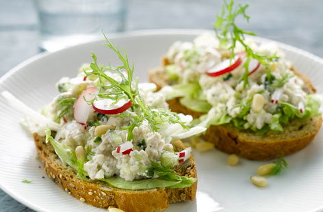 Fromage frais, cucumber and radish sandwich
