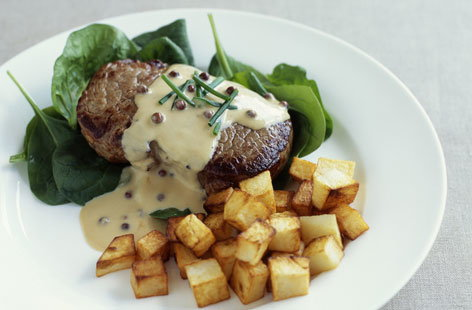 Steak with mustard sauce