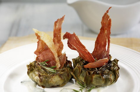 Artichokes with Spanish ham
