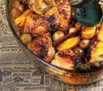 Roast chicken with citrus fruit
