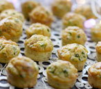 Pea and bacon mini muffins