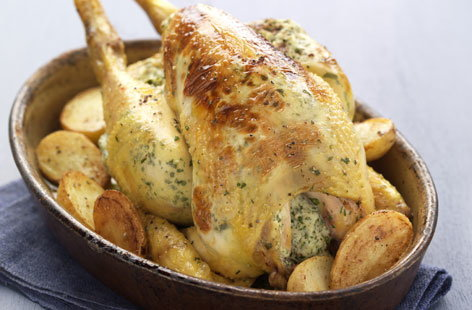 Roast chicken, stuffing and potatoes