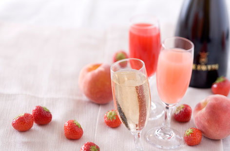 Peach Kir and strawberry Kir