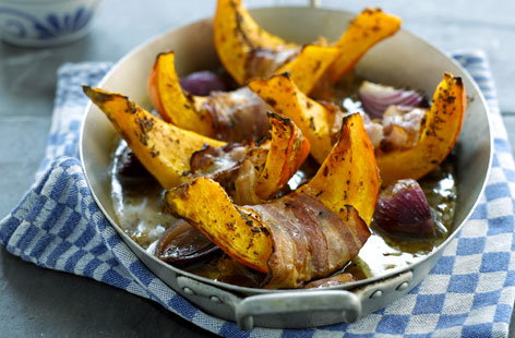 Roast squash with beer and bacon