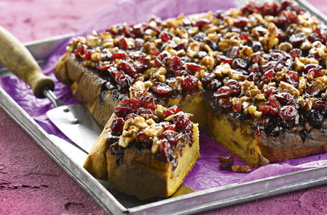 Walnut and cranberry cake