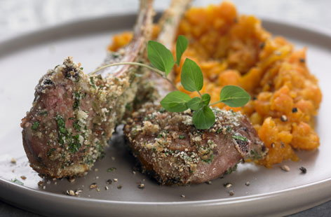 Lamb chops with carrot purée