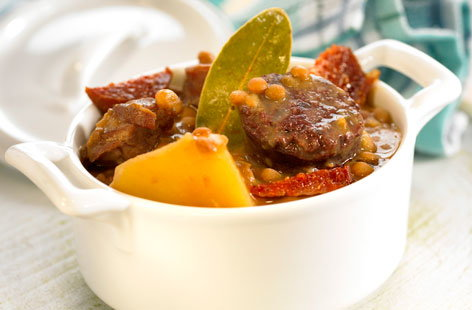 Beef, lentil and potato stew