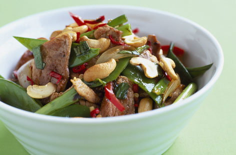 Pork, sugar pea and cashew Thai salad