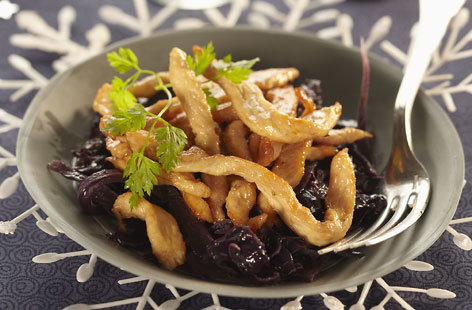 Red cabbage and honey turkey fricassee
