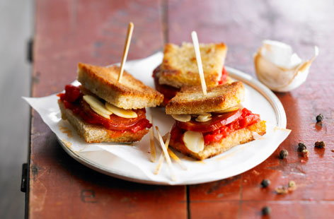 Chorizo and almond toasted appetizers