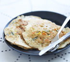 Vegetable and goat's cheese savoury pancakes