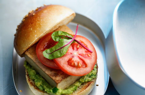 Tofu and guacamole burger