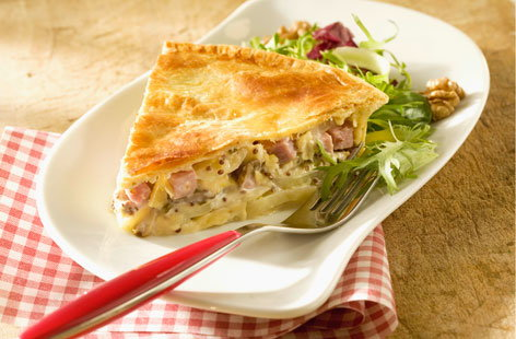 Potato, bacon and traditional mustard pie