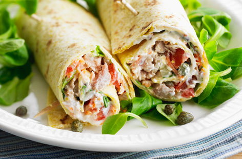 Tuna and spring vegetable tortillas