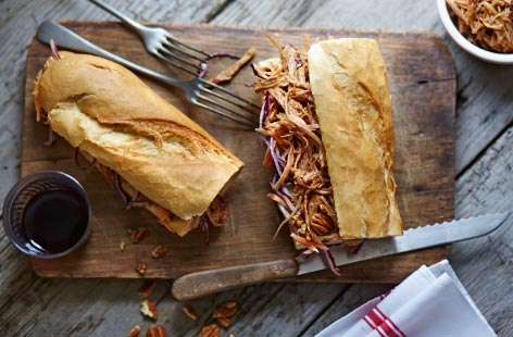 Leftover pulled pork and coleslaw sub