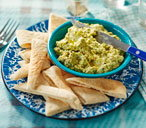 Broad bean, feta and pistachio dip