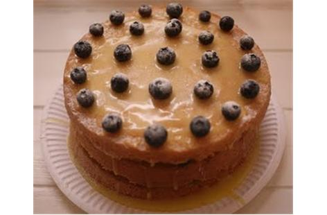 Lemon and blueberry triple layer cake