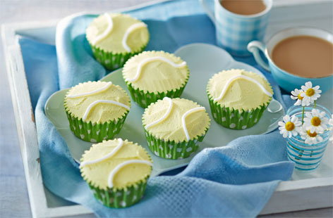Tennis ball peach cupcakes