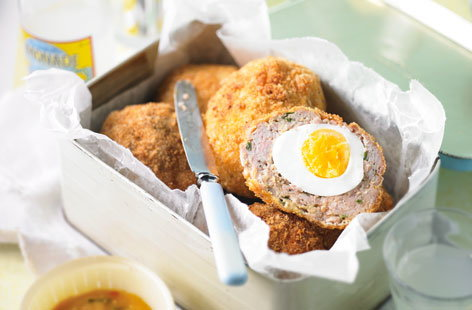 Pork and mustard scotch eggs