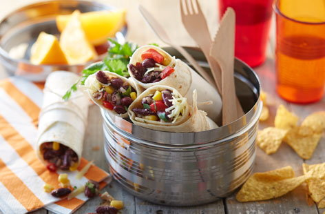 Chilli bean and corn tortilla wrap