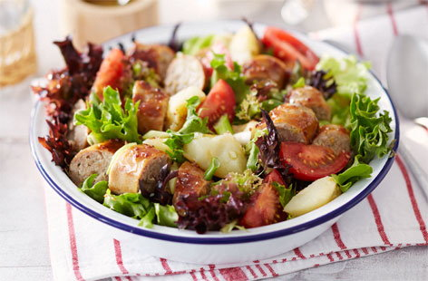 Sticky sausage and crushed new potato salad