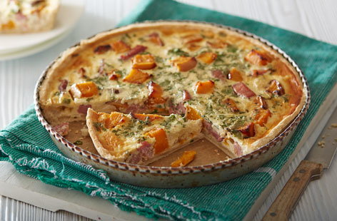 Butternut, rosemary and gammon quiche