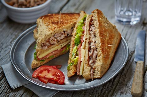 Leftover pork club sandwich