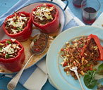 Greek-style stuffed peppers with beef
