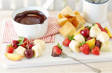 Salted caramel and chocolate fondue