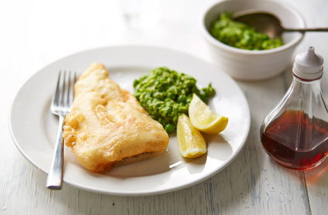 Gluten-free battered cod and mushy peas