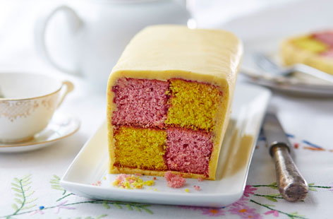 Nut-free Battenburg cake